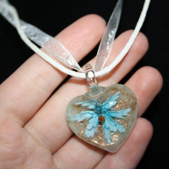 Beautiful blue flower glass heart necklace ribbon
